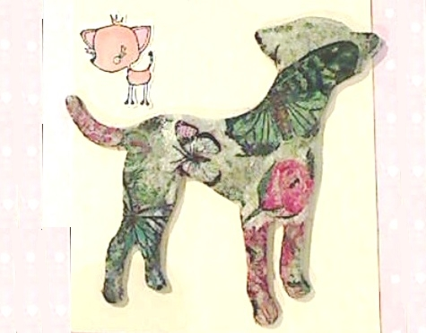 Decoupaged Wood Veneer Dogs