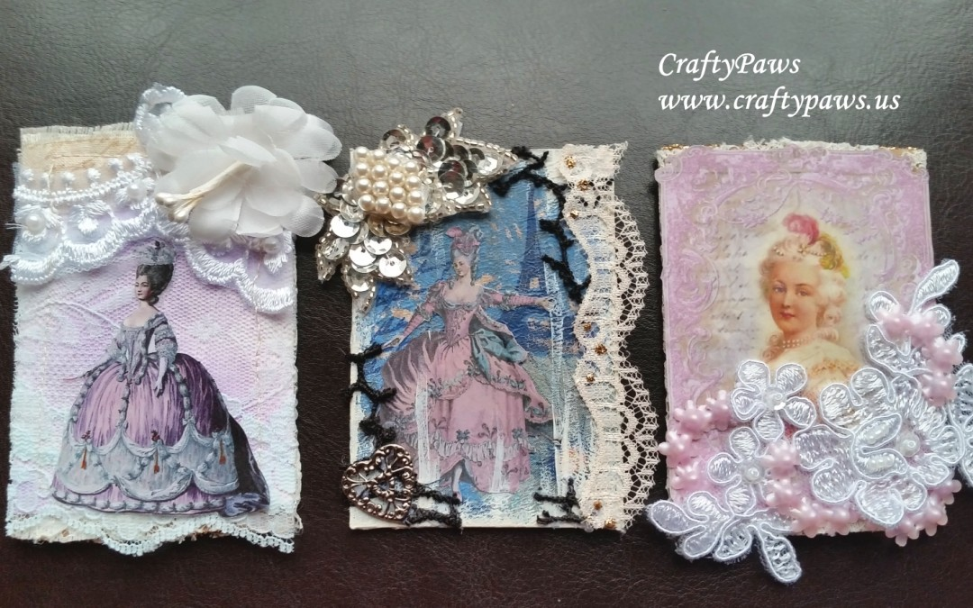 3 Marie Antoinette Themed ATCs – GDTP for MelsCraftBoutique