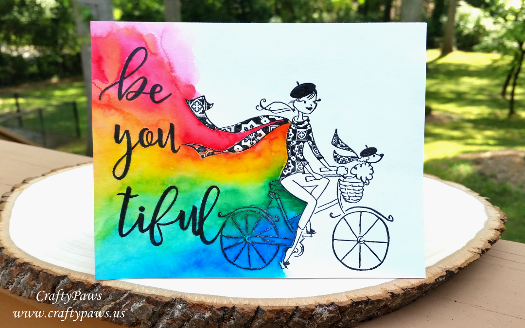 Be * you * tiful Rainbow Watercolored Card