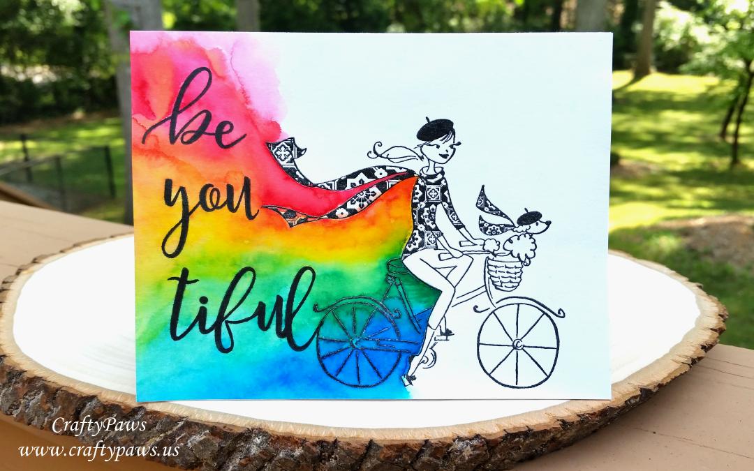 Be * you * tiful Rainbow Watercolored Card